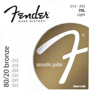FENDER 80/20 Bronze Acoustic Strings  Ball End  70L .012-.052 Gauges  Set of 6