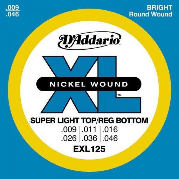 DADDARIO EXL125 Nickel Wound, Super Light Top, 9-46