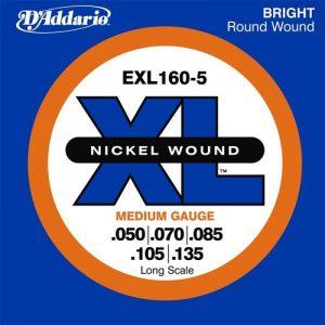 DADDARIO EXL160-5 Nickel Wound 5-String Bass  Medium  50-135  Long Scale