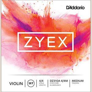 DADDARIO DZ310A 4/4M ZYEX VIOLIN SET ALUM D 4/4 MED